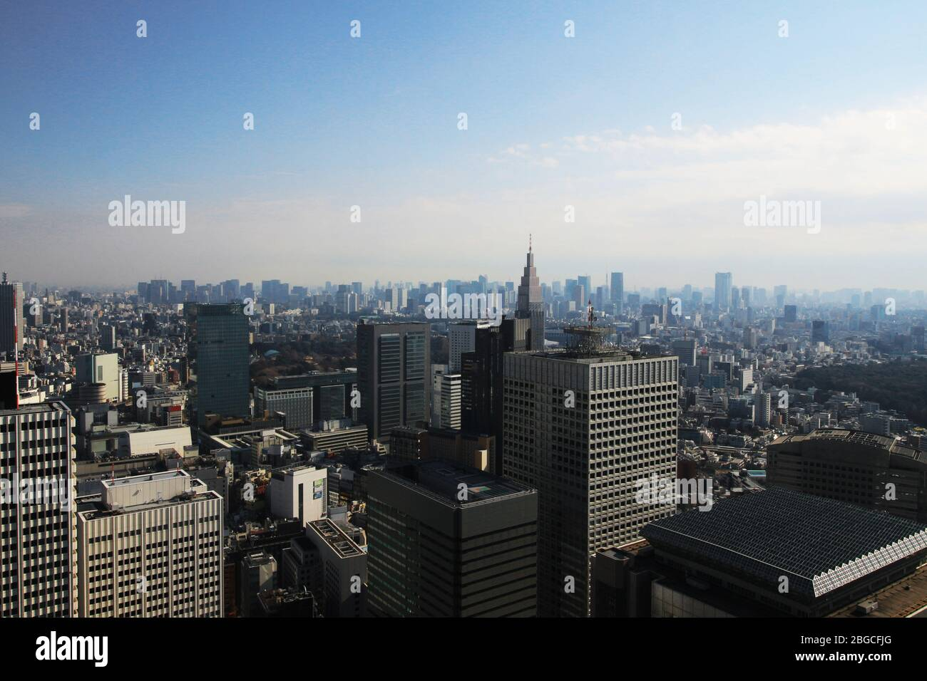 Scenery of skyscrapers in central Tokyo as seen from the Tokyo Metropolitan Government Observatory Stock Photo