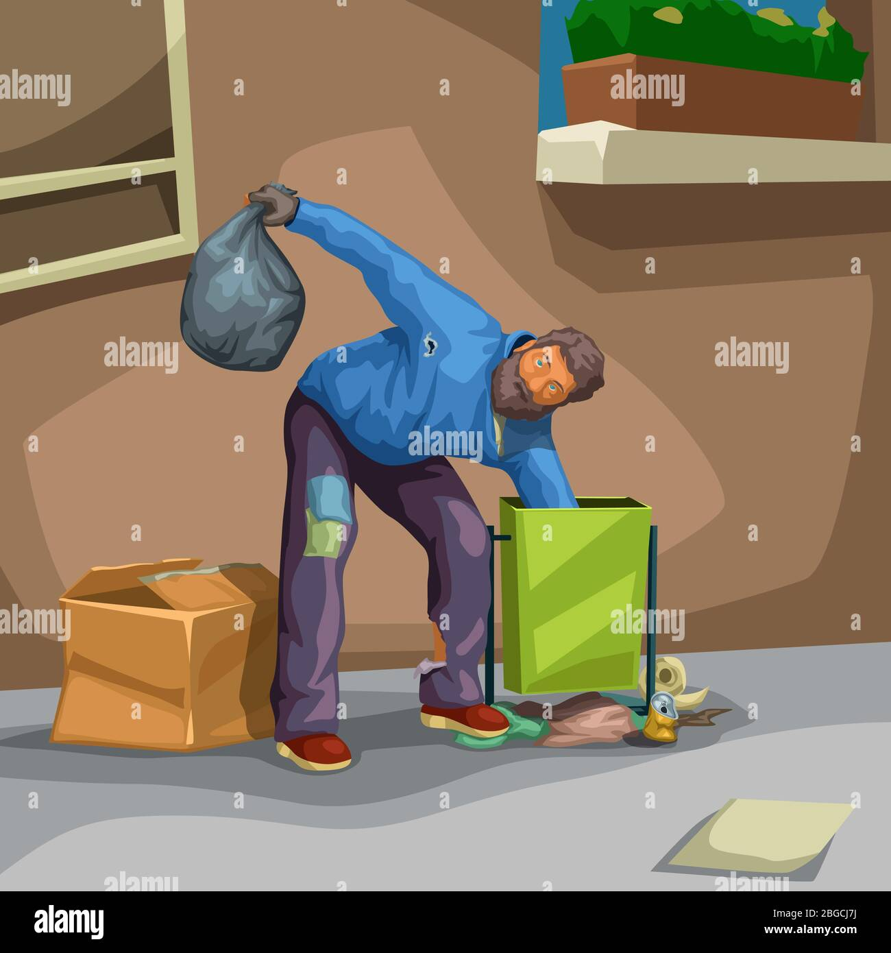 homeless searching food in trash Stock Vector Image & Art   Alamy
