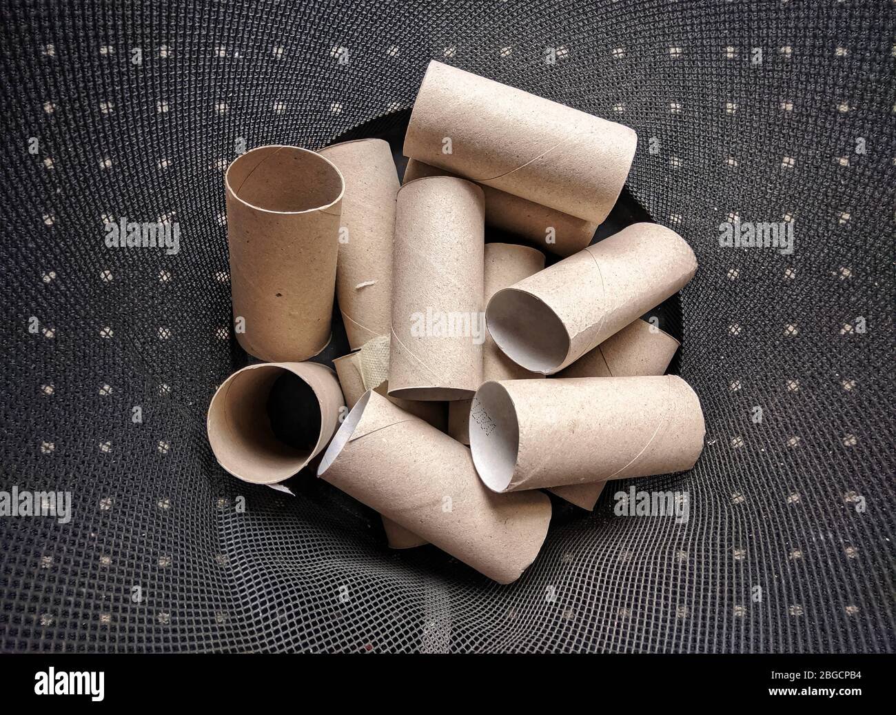 Munich, Bavaria, Germany. 21st Apr, 2020. Discarded toilet paper rolls in a recycling basket during the Coronavirus crisis in Germany where shoppers raided supermarkets and other shops for supplies, such as toilet paper and pasta. These shoppers were called ''hamsters'' in German. Credit: Sachelle Babbar/ZUMA Wire/Alamy Live News Stock Photo