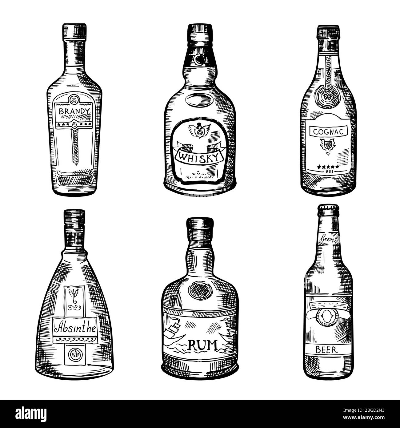 Different alcoholic drinks in bottles. Vector illustration in hand drawn style Stock Vector