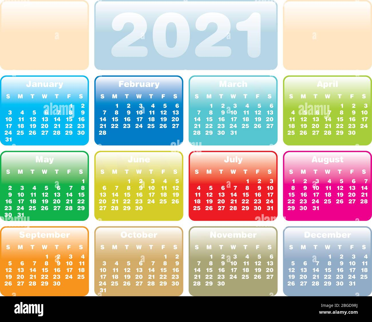 Colorful Calendar for Year 2021, in vector format Stock Vector