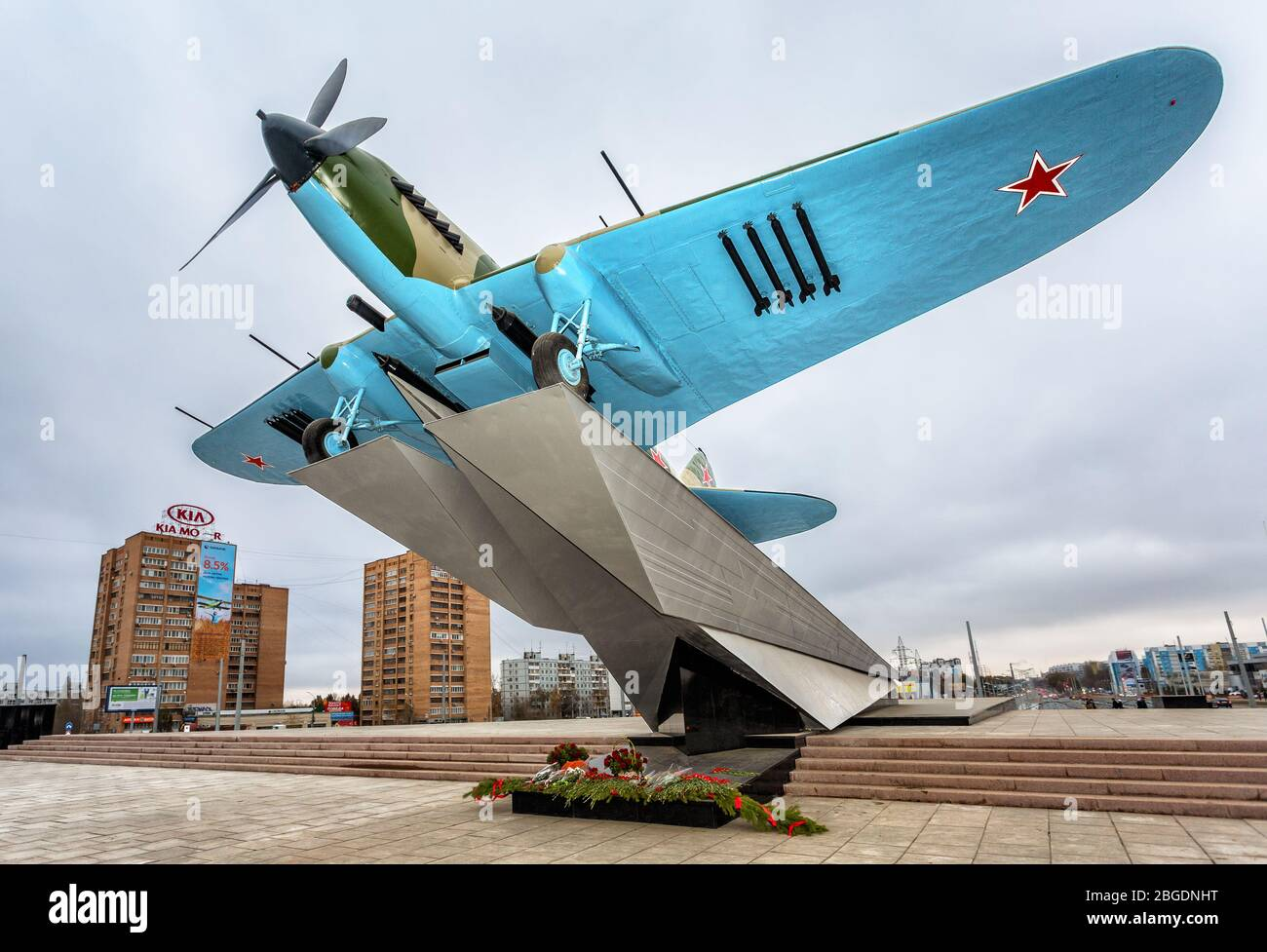 "Samara, Russia - November 12, 2017: Monument to low-flying attack soviet airplane ""Ilyushin 2"" of the Second World War Stock Photo"