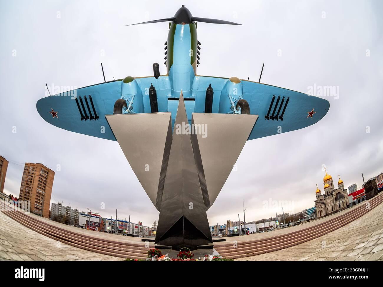 "Samara, Russia - November 12, 2017: Monument to low-flying attack soviet airplane ""Ilyushin 2"" of the Second World War Stock Photo"