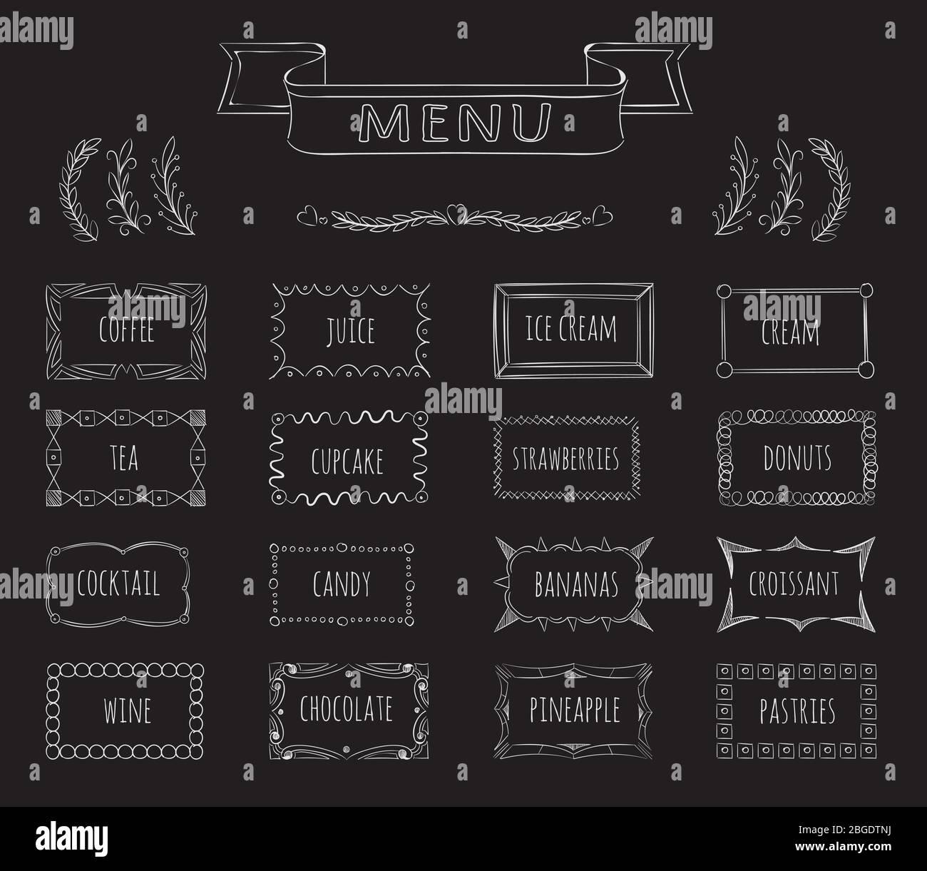 Cafe Blackboard Menu Hand Drawn Set Stock Vector Image Art Alamy