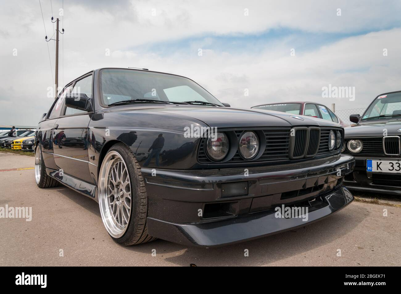 London England June 1st 2014 Retro Bmw M3 E30 Sports Car Tribute To Bmw Cars There Are Many Bmw From Old Cars To New Sports Cars Collect Stock Photo Alamy
