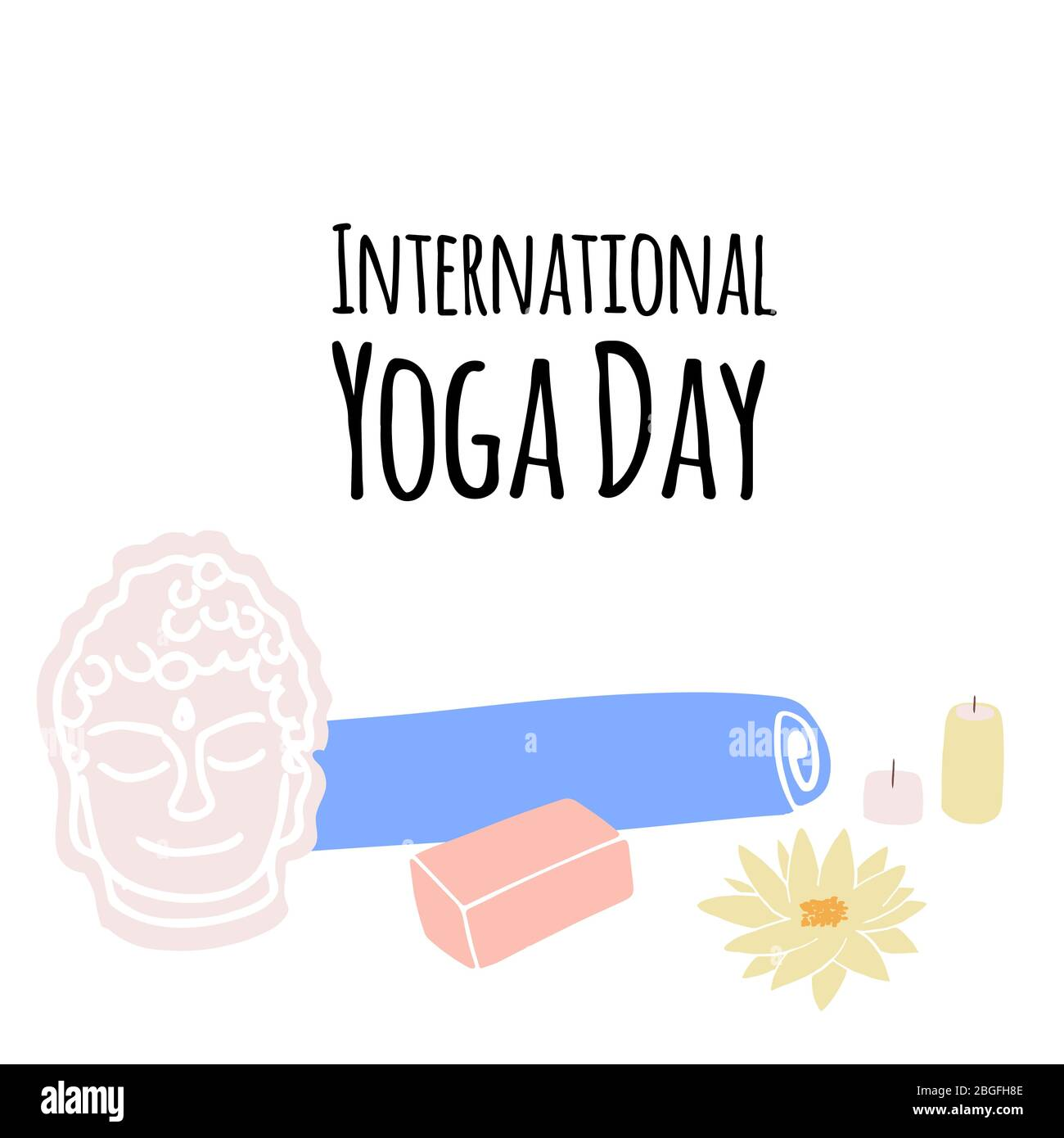 Illustration Of Items For Yoga And Meditation Yoga Mat Aroma Lamp Candles In Cartoon Style Stock Vector Image Art Alamy