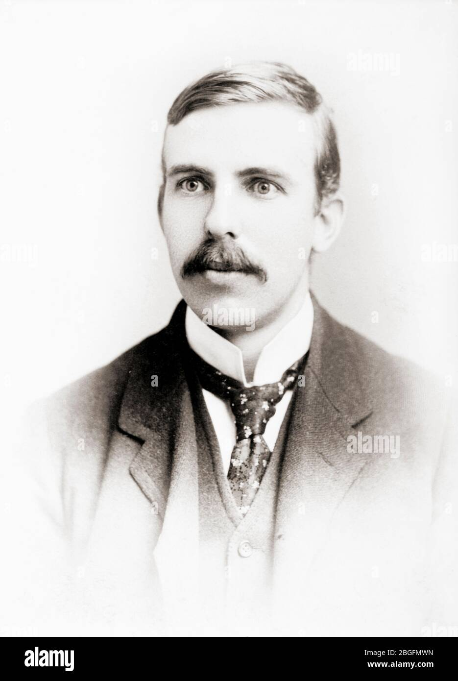 Ernest Rutherford, 1st Baron Rutherford of Nelson, 1871 - 1937.  New Zealand-born British physicist.  Recipient of Nobel Prize for Chemistry in 1908.  Known as Father of Nuclear Physics.  After a photograph published circa 1908. Stock Photo