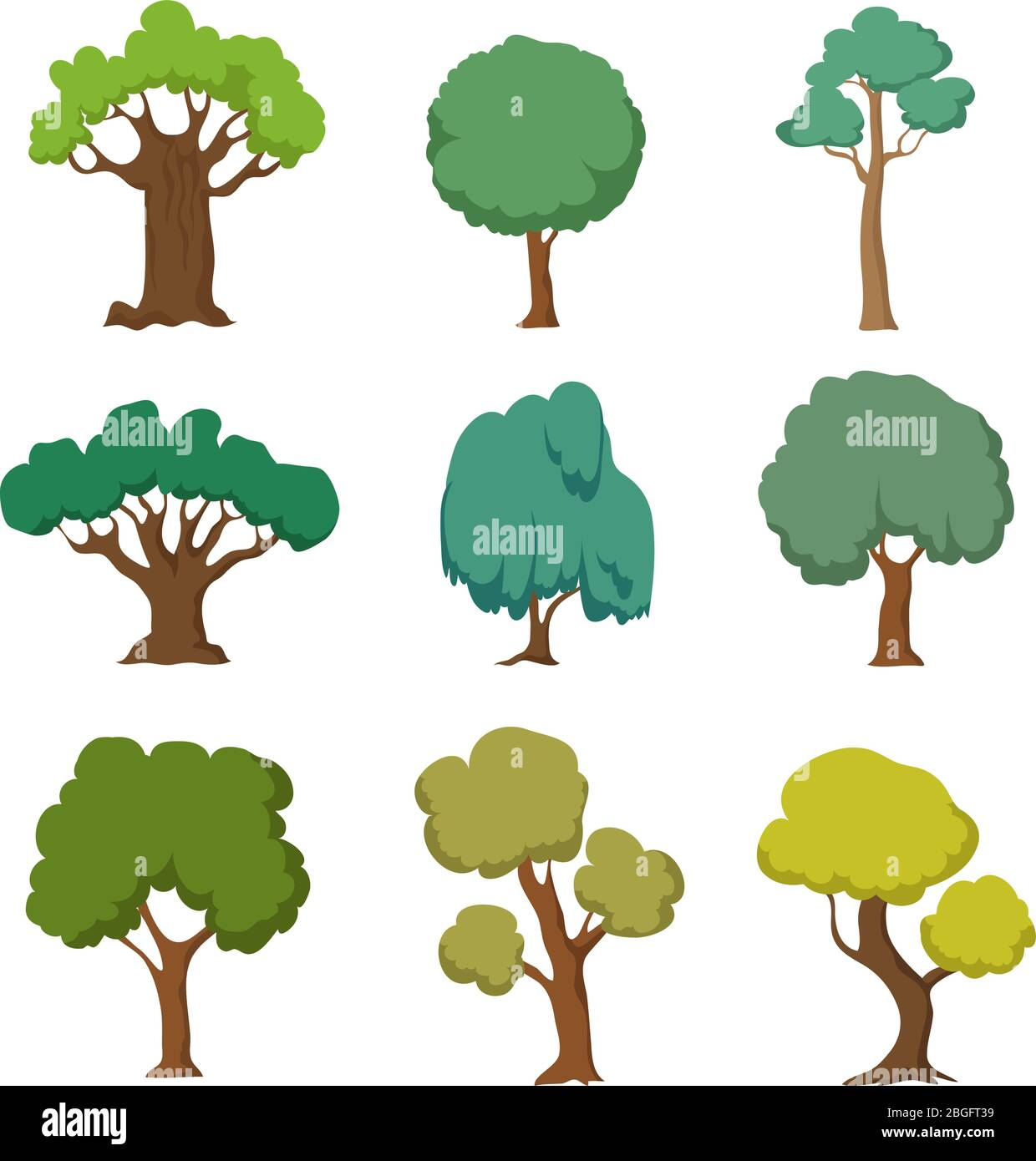 Cartoon Green Trees Cute Nature Forest Plant And Bushes Vector Set Isolated On White Background Forest Tree And Green Bush Cartoon Plant Illustration Stock Vector Image Art Alamy