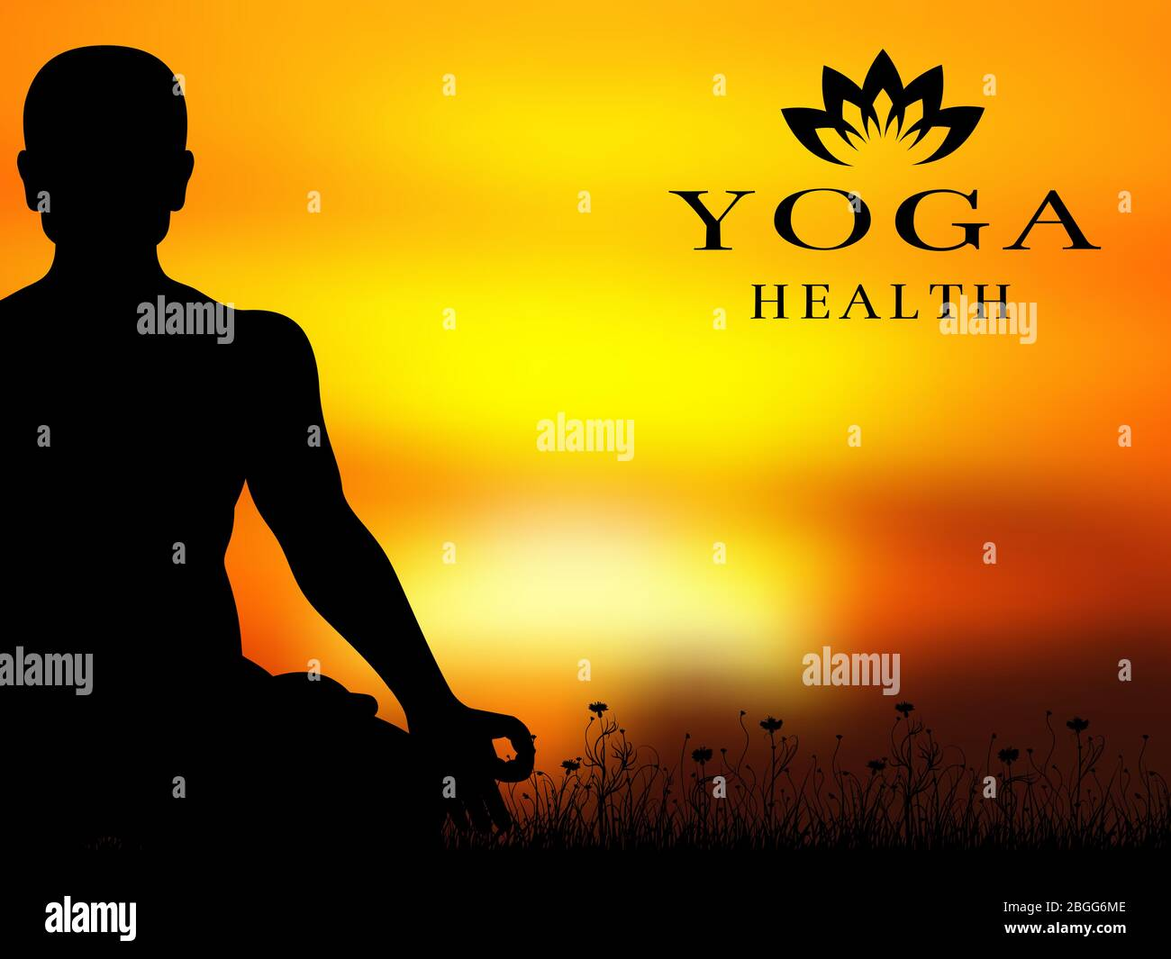 Yoga Meditation Silhouette Vector Background Banner And Poster Health Illustration Stock Vector Image Art Alamy