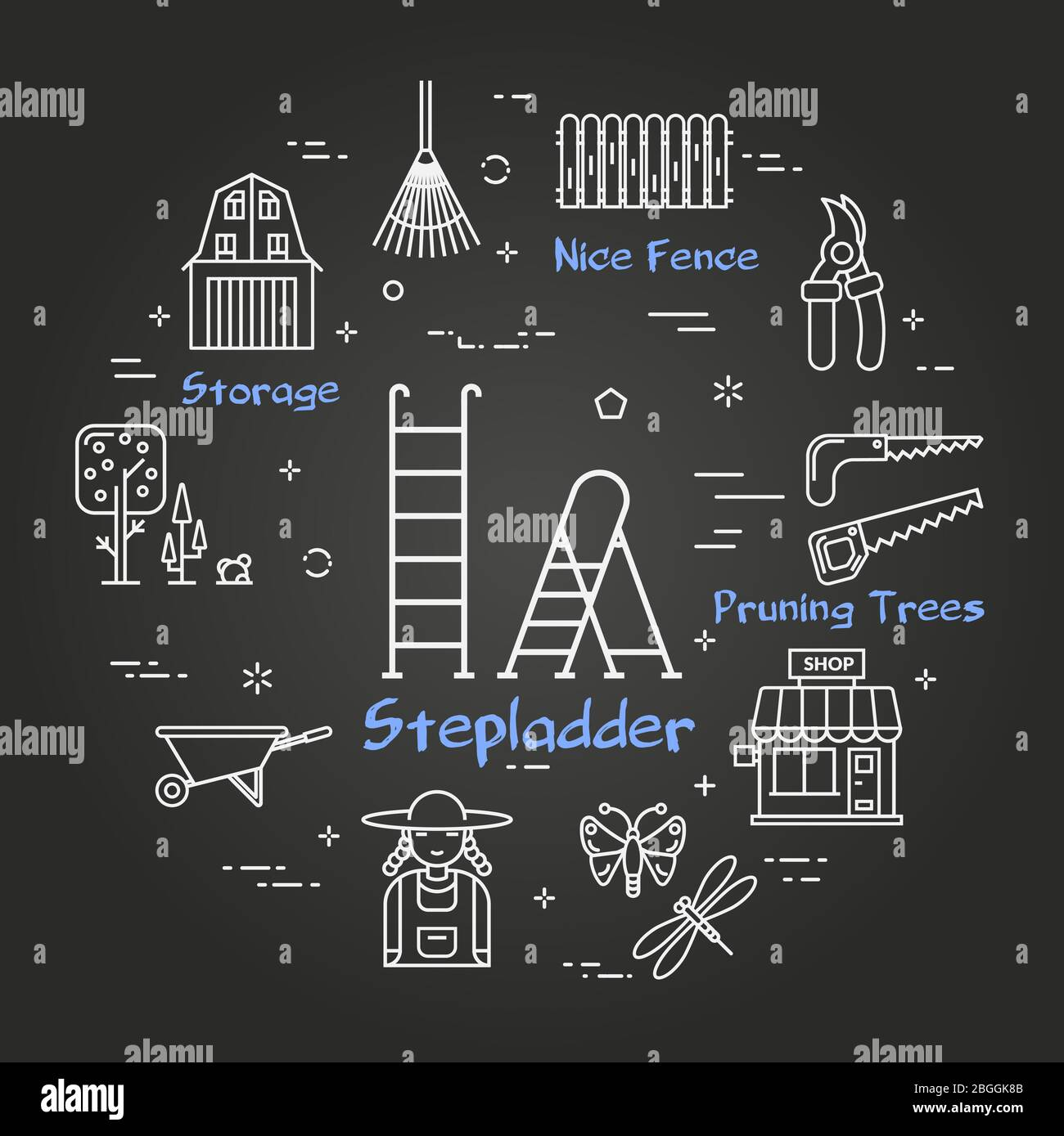 Vector linear black gardening and farming - Stepladder Stock Vector