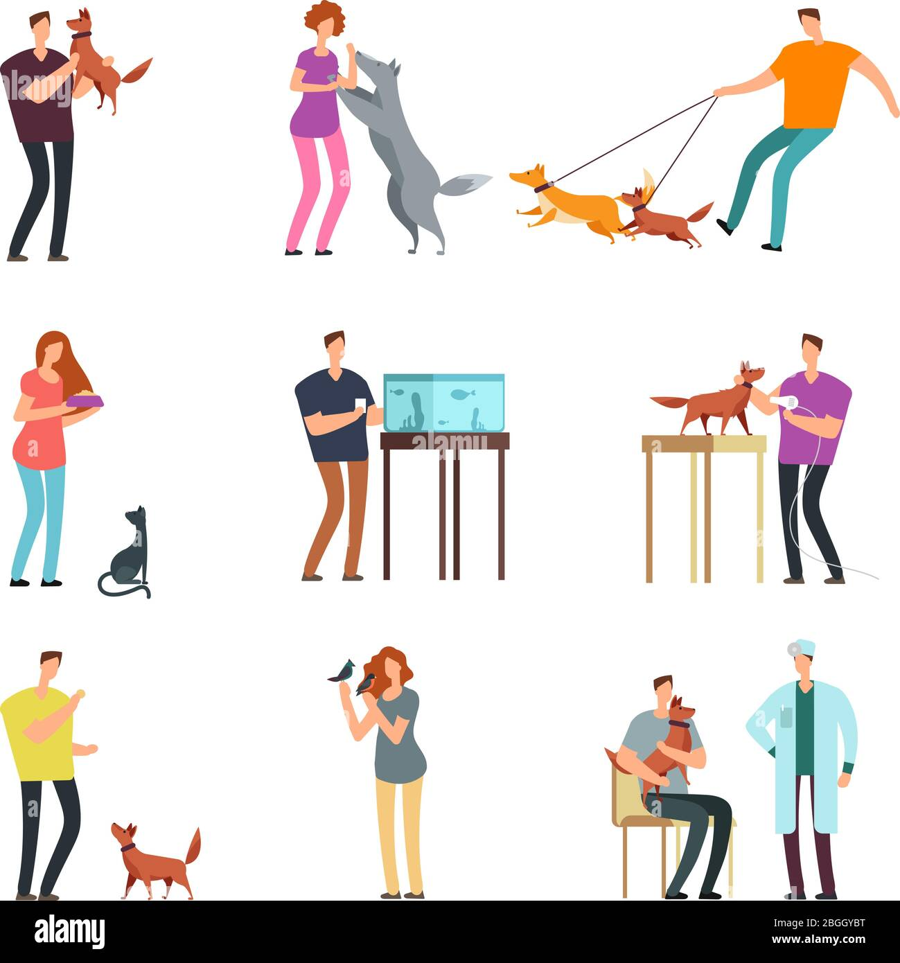 Happy People Pet Owner Man Women And Family Training And Playing With Pets Vector Cartoon Characters Isolated Illustration Of People With Dog And Cat Bird And Fish Stock Vector Image Art