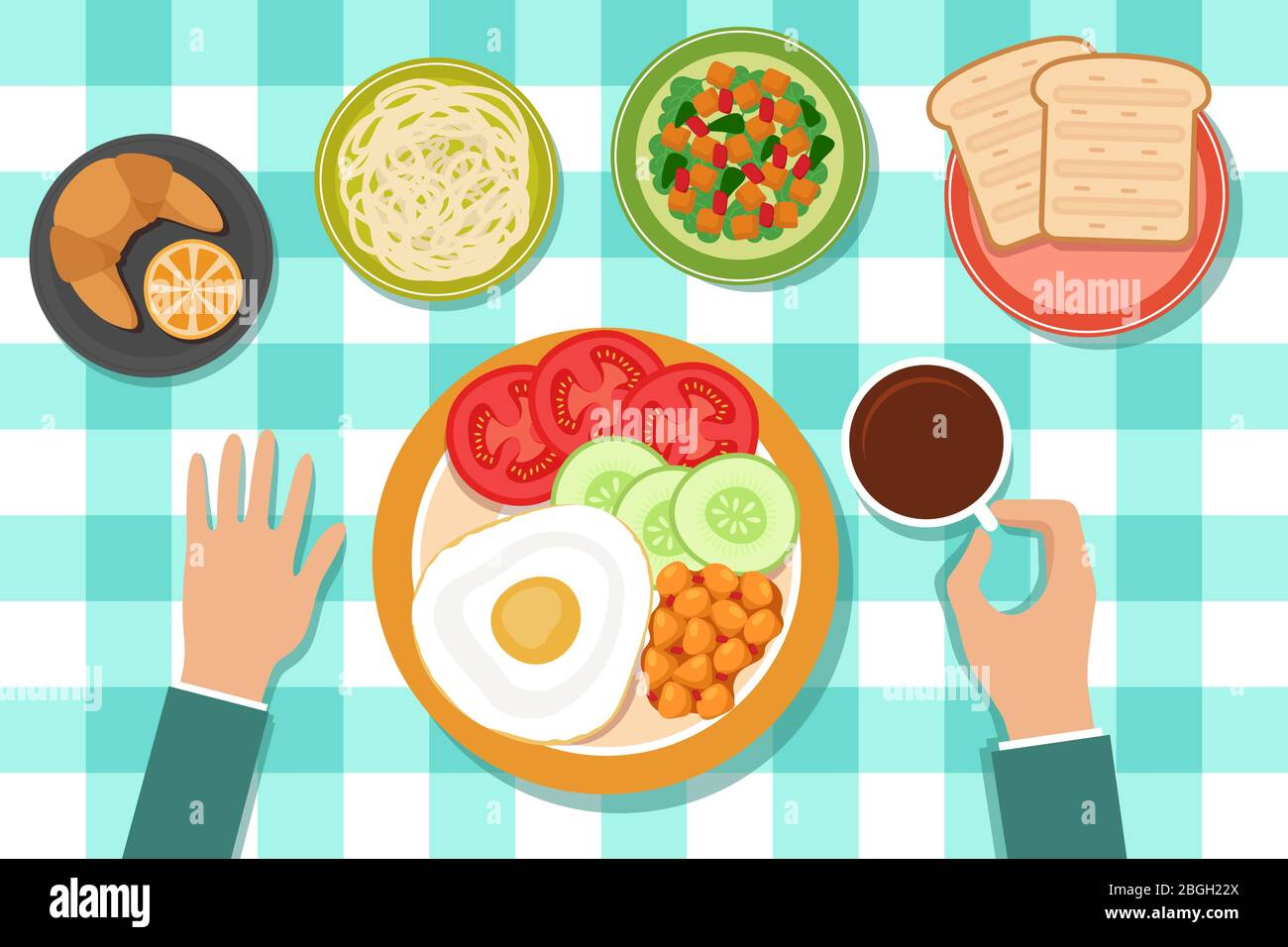 Breakfast Eating Food On Plates And Man Hand On Table Top View Vector Illustration Dish Food On Table Drink Of Tea Stock Vector Image Art Alamy