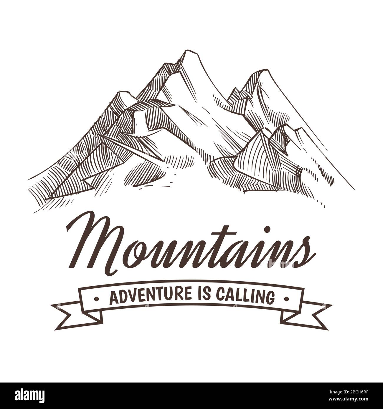 Hand Drawing High Mountain Peak And Forest Vintage Adventure Vector Poster With Sketched Mountains Mountain Adventure Banner Travel Poster With Peak Illustration Stock Vector Image Art Alamy