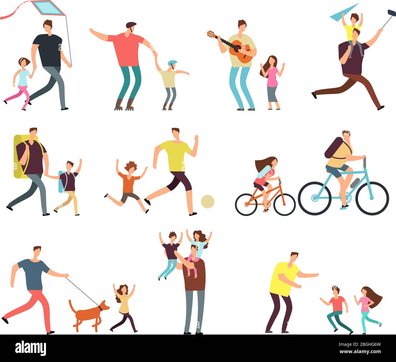 Daddy playing with happy children. Fatherhood and fathers day related people cartoon characters vector isolated. Daddy father with child, family happy, parent and daughter illustration Stock Vector
