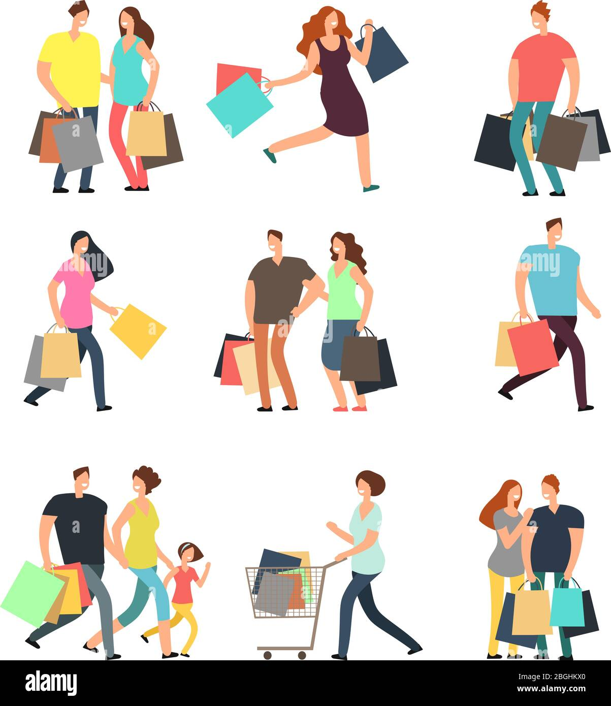 Happy Shopping People Man Woman And Shoppers With Gift Boxes And Shopping Bags Vector Cartoon Characters Set Woman And Man Cartoon Shopper Buyer With Bag Purchase Vector Illustration Stock Vector Image