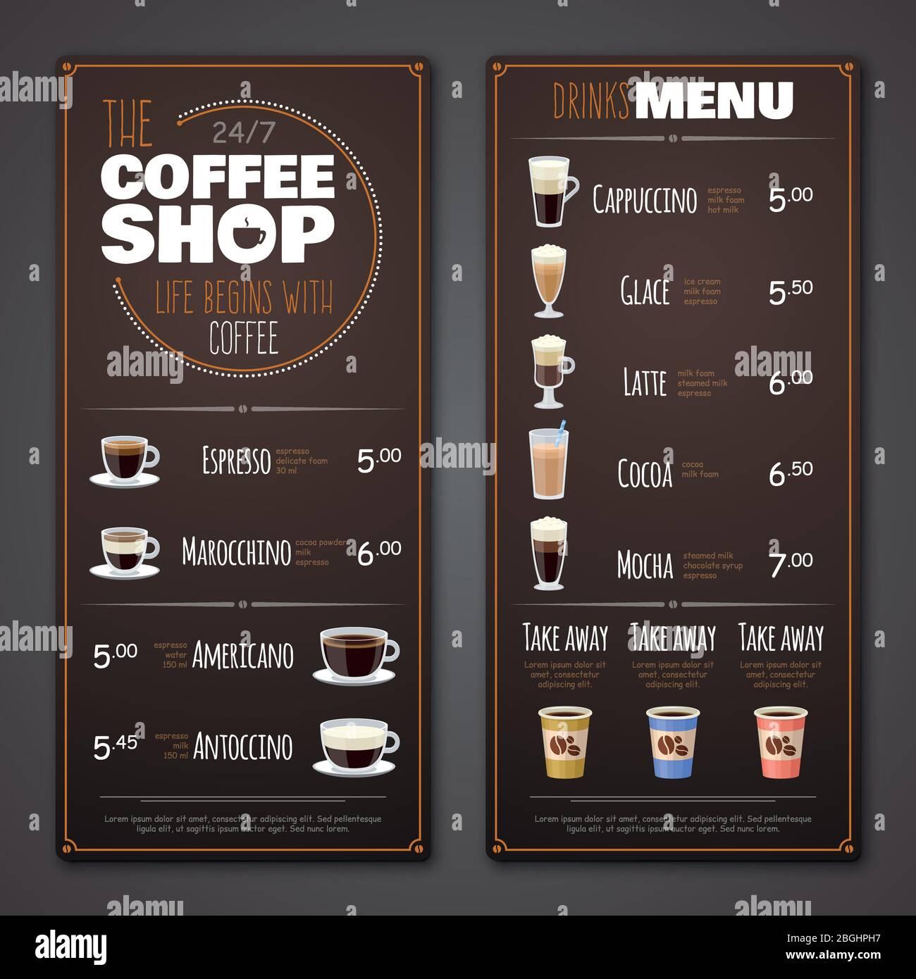 Coffee Shop Menu Vector Design Template Cafe Shop Banner With Drink Illustration Stock Vector Image Art Alamy