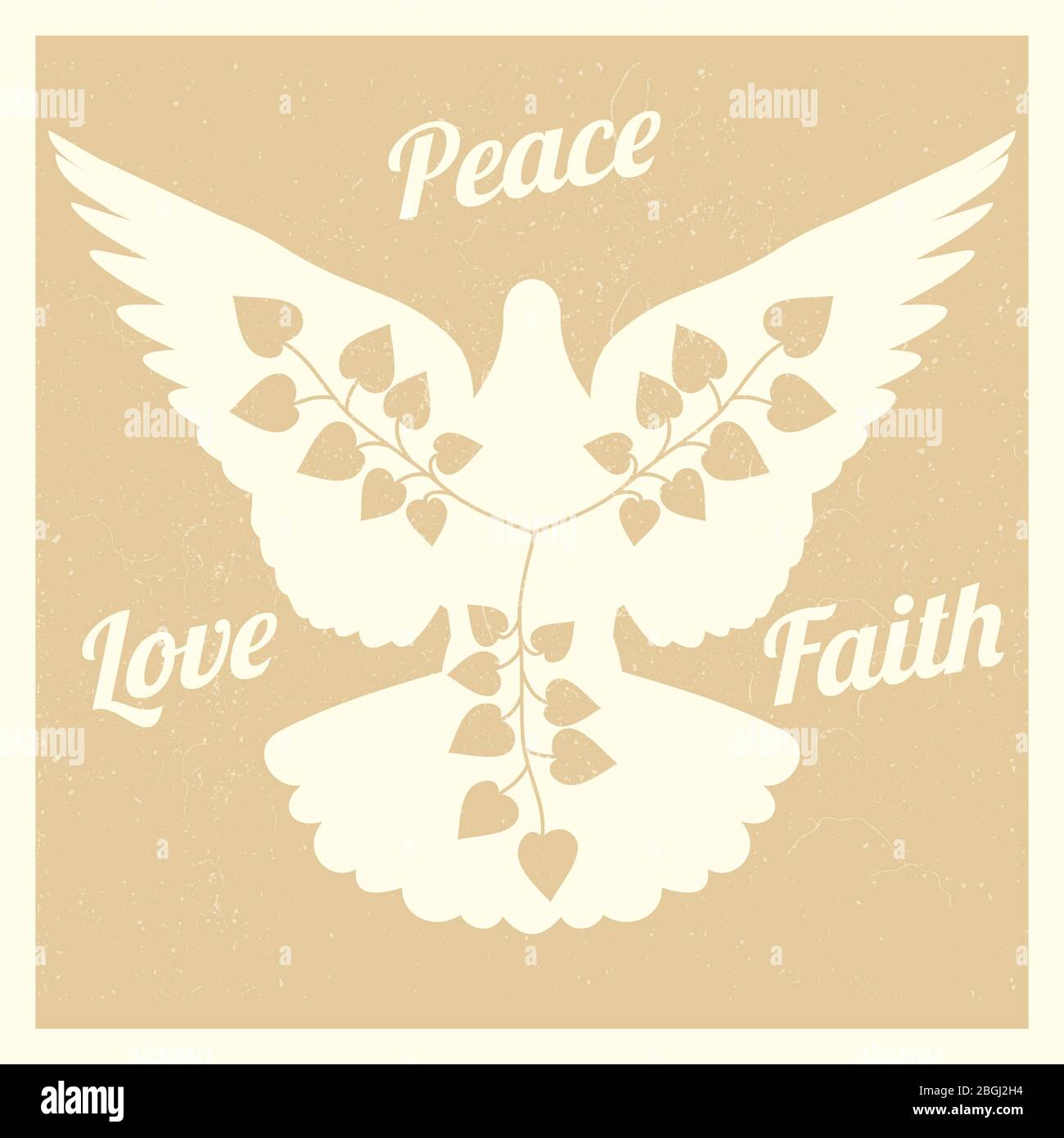 Grunge background with flying dove and branches silhouettes banner and poster. Vector illustration Stock Vector