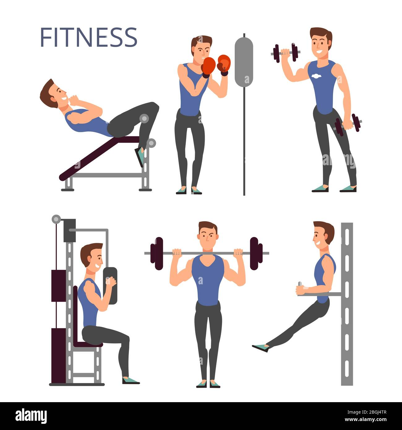 Gym Exercises Body Pump Workout Vector Set With Cartoon Sport Man Characters Fitness People In Gym Illustration Stock Vector Image Art Alamy