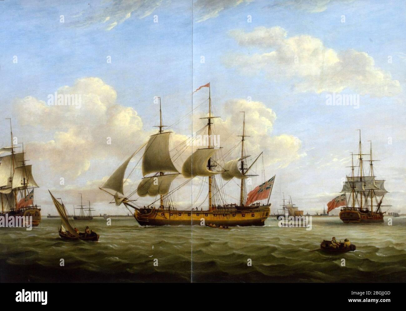 HMS Maria Anna-Earl of Chatham- Achilles-Thomas Luny. Stock Photo