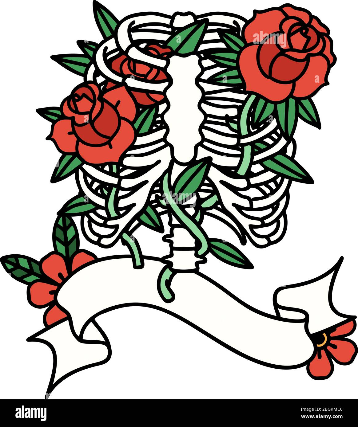 Traditional Tattoo With Banner Of A Rib Cage And Flowers Stock Vector Image Art Alamy