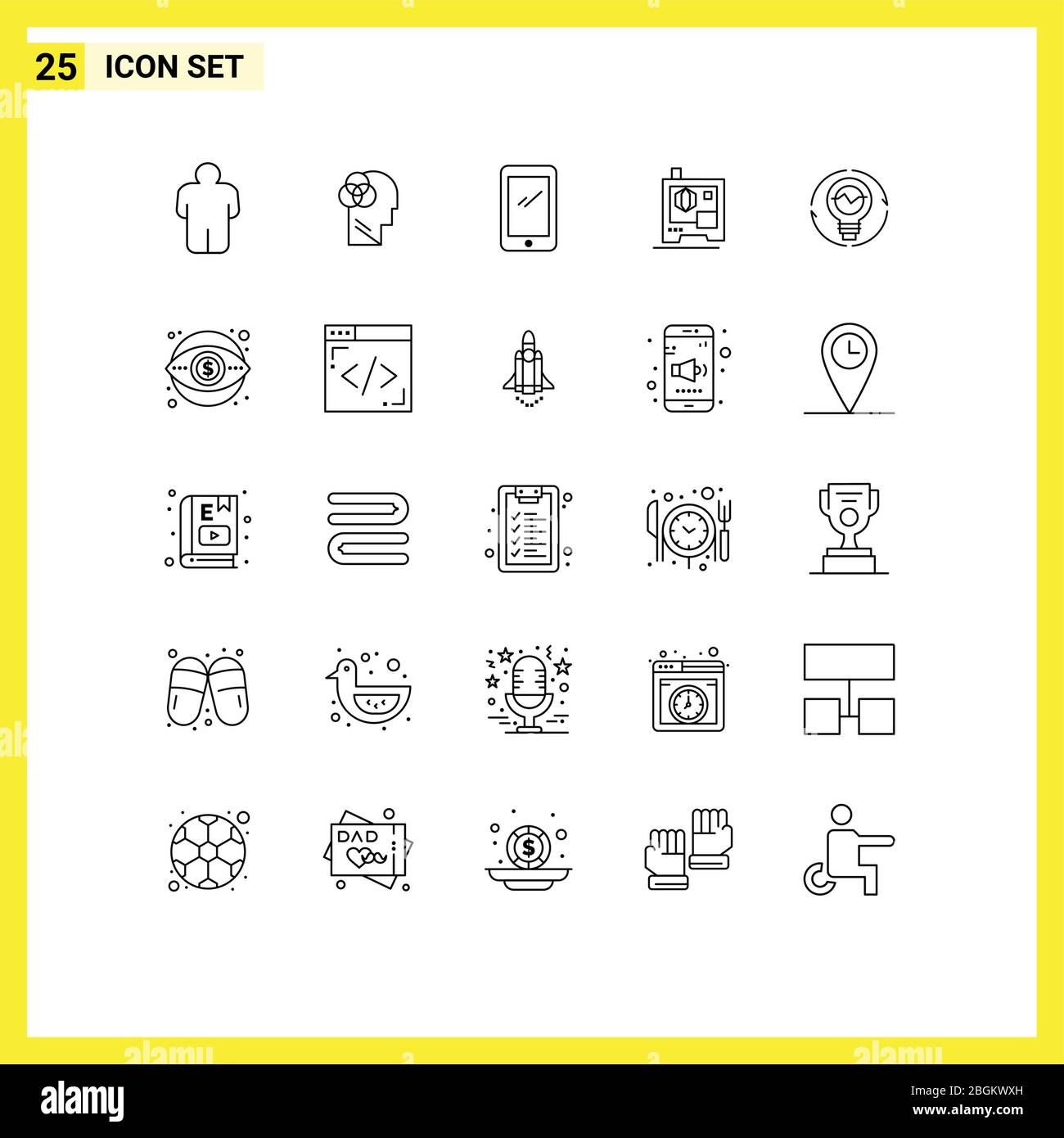 25 Thematic Vector Lines and Editable Symbols of generation, bulb, smart phone, scanner, printer Editable Vector Design Elements Stock Vector