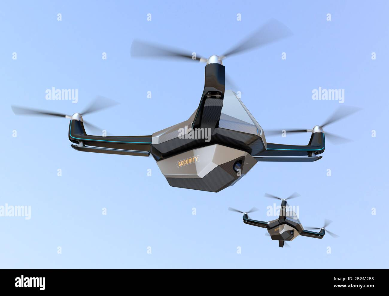 Electric Security Drones flying in the sky. 3D rendering image. Stock Photo