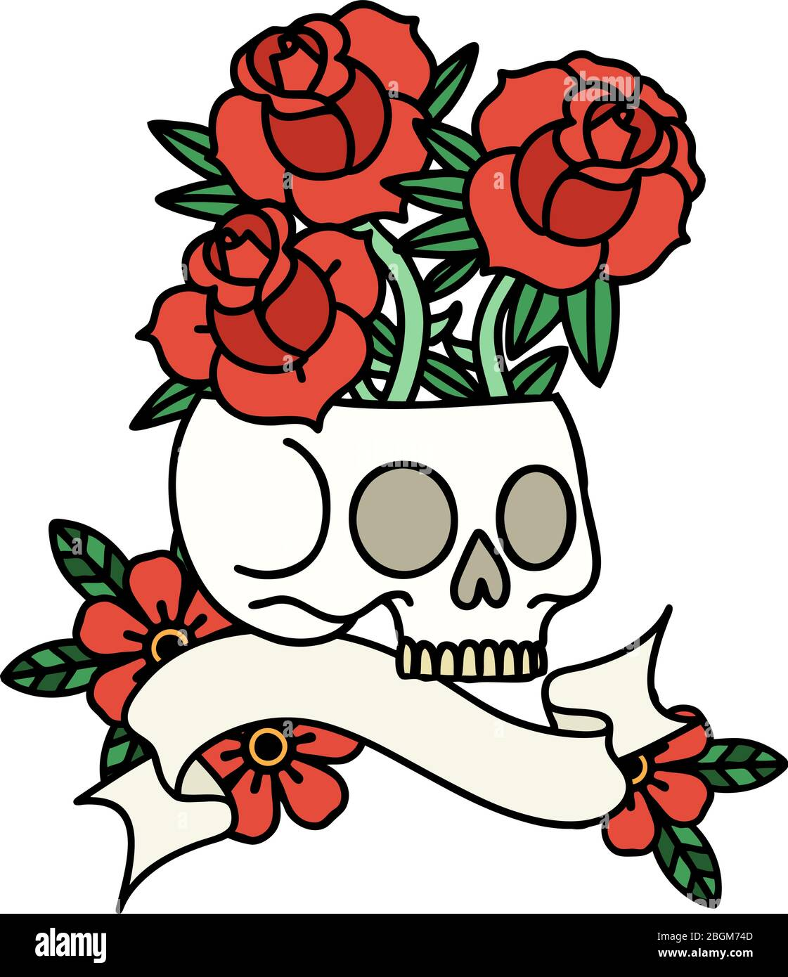 Traditional Tattoo With Banner Of A Skull And Roses Stock Vector Image Art Alamy