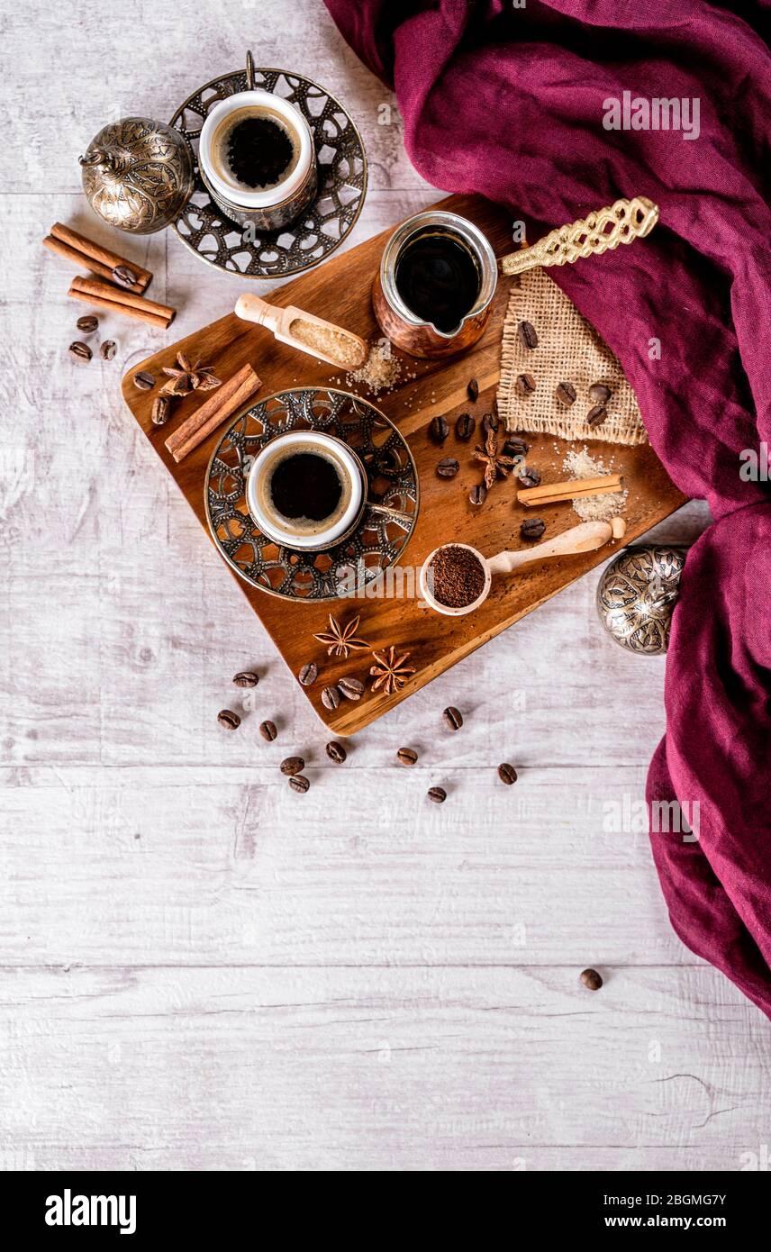 Assorted turkish coffees  arabic traditional coffee table setup Stock Photo