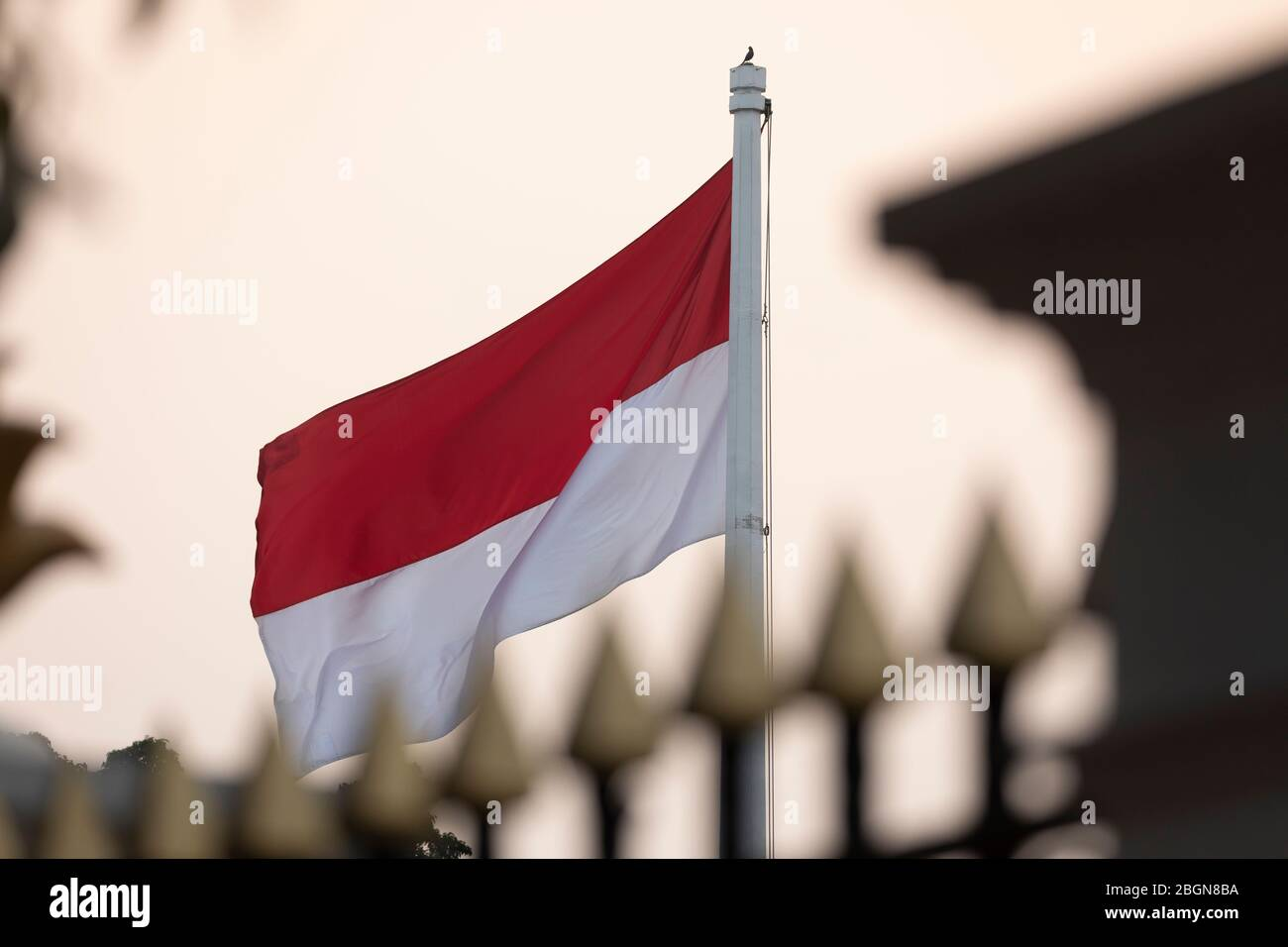 Jakarta, Indonesia - July 13, 2019: Detail of the Indonesian national red and white flag next to Medan Merdeka Utara avenue in the Central Jakarta. Stock Photo