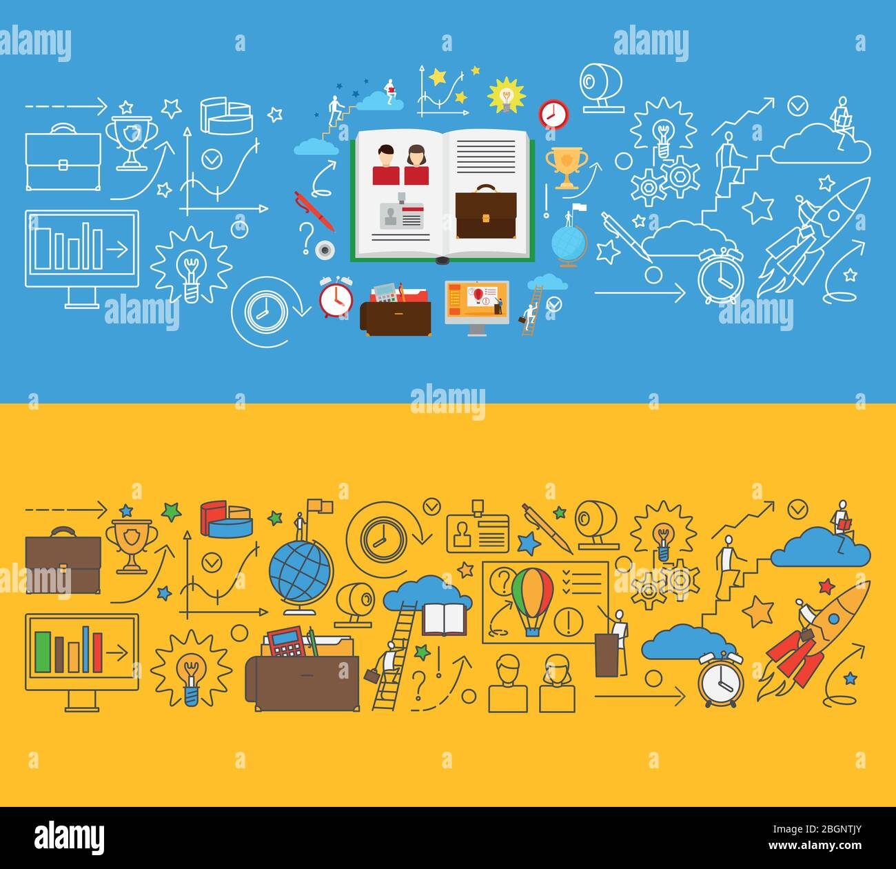 Online Education And Online Learning Templates For Web Banners Vector Illustration Stock Vector Image Art Alamy