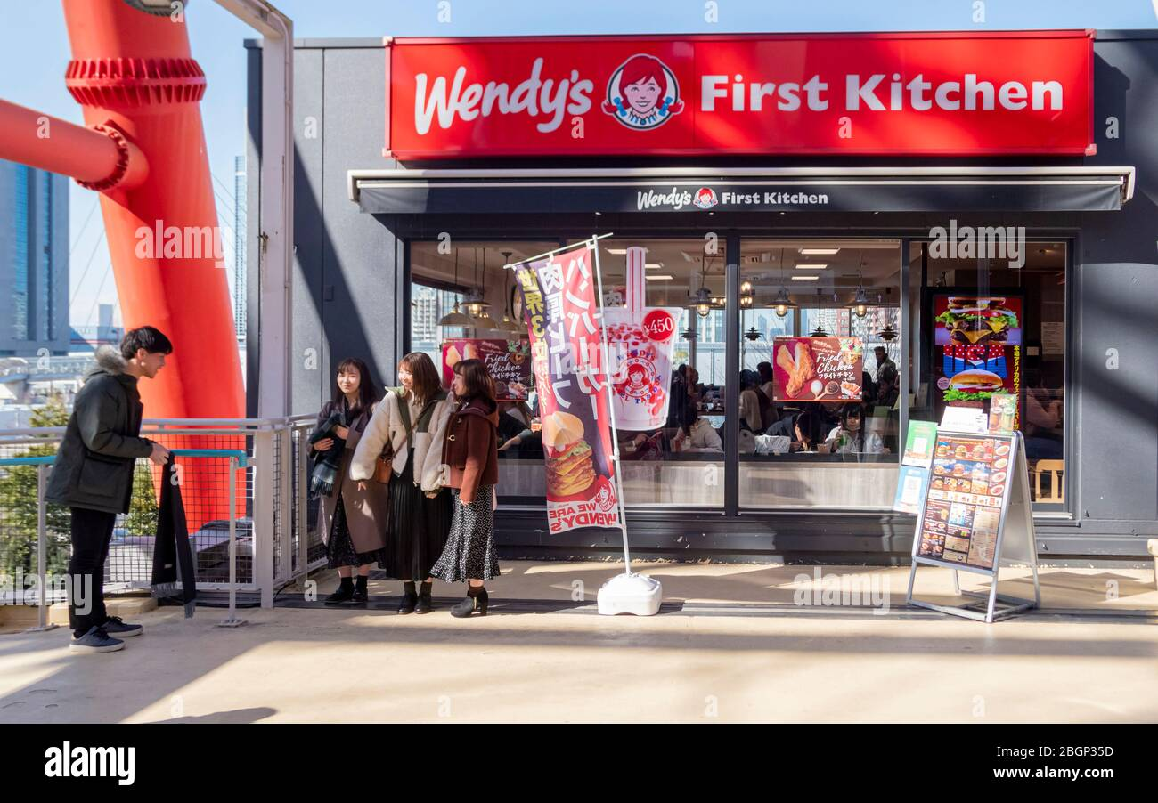 Wendy First Kitchen Hamburger Restaurant At Mori Building Digital Art Museum With Japanese People Around Tokyo Japan February 8 2020 Stock Photo Alamy