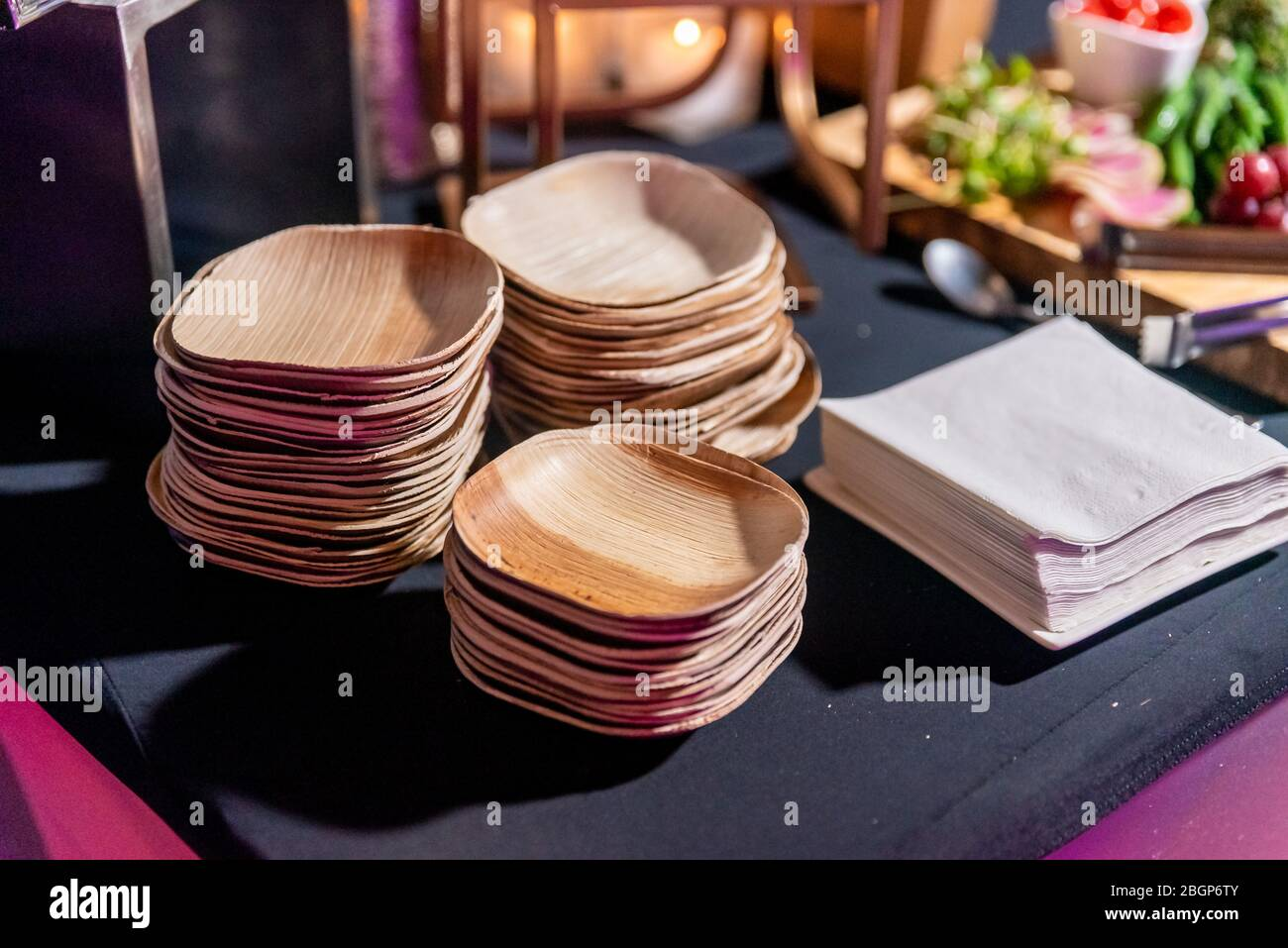 Eco Environmentally Friendly Palm Leaf Plates Made From Natural Sustainable Leaves Biodegradable Alternative To Paper Bamboo Plastic Or Wood Plate Stock Photo Alamy