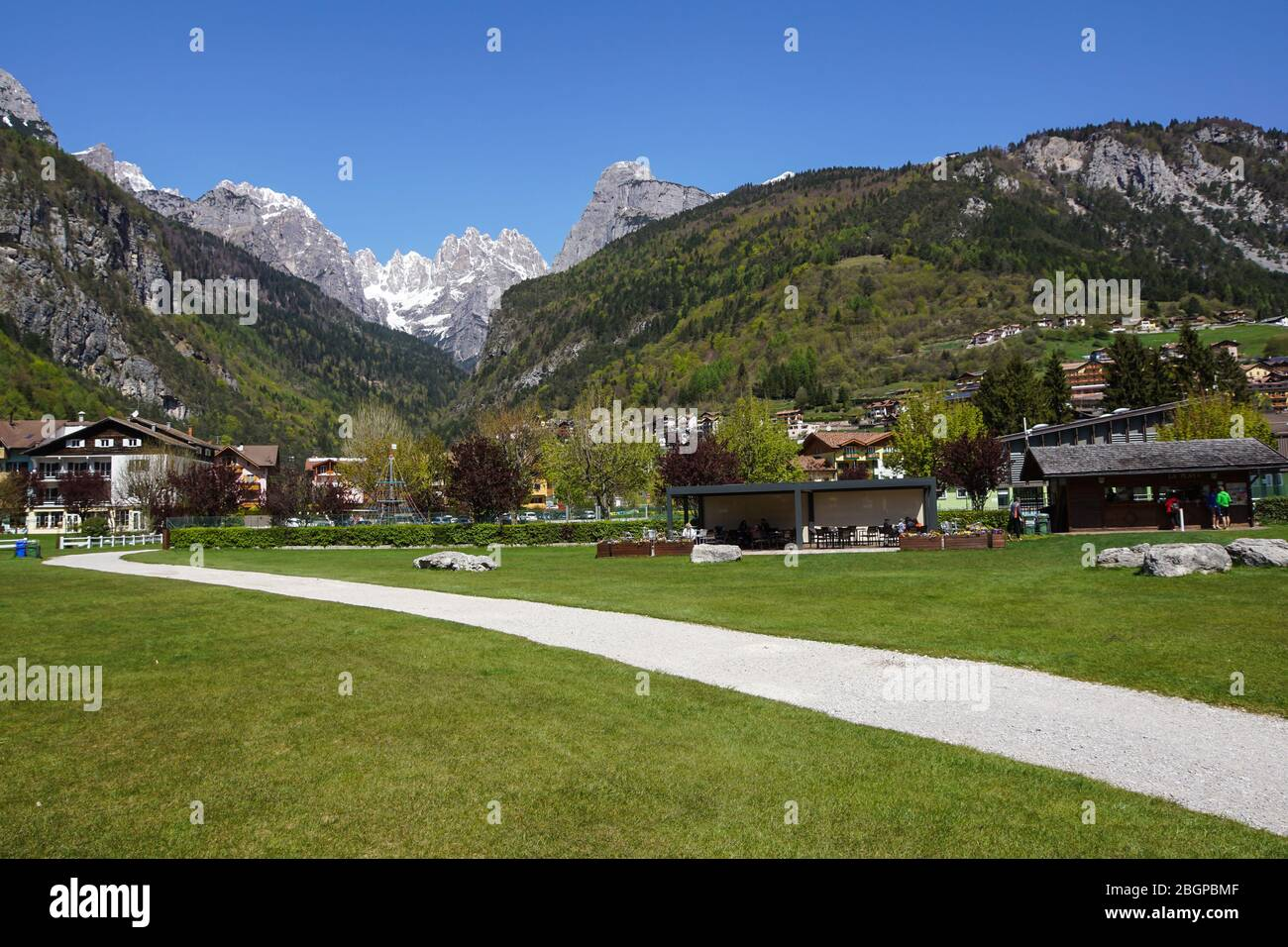 Molveno lake is a beautiful magical place in the Italian Alps . Stock Photo
