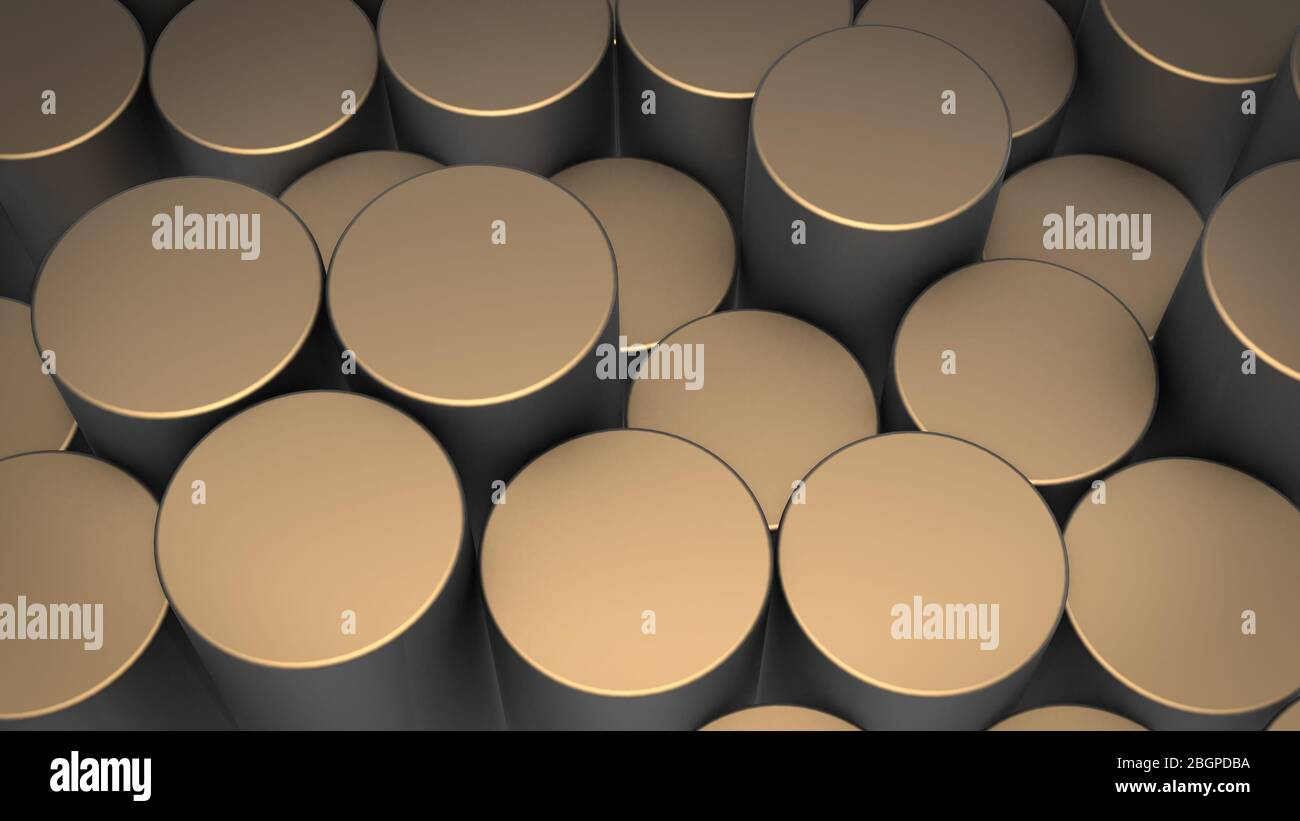3D rendering of abstract cylindrical geometric surfaces in virtual space. Randomly placed geometric shapes. Bright and beautiful background made of cy Stock Photo