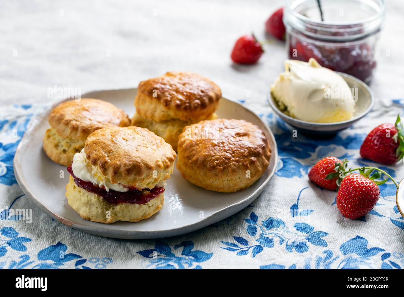 Freshly baked home made scones with strawbery jam and clotted cream Stock Photo