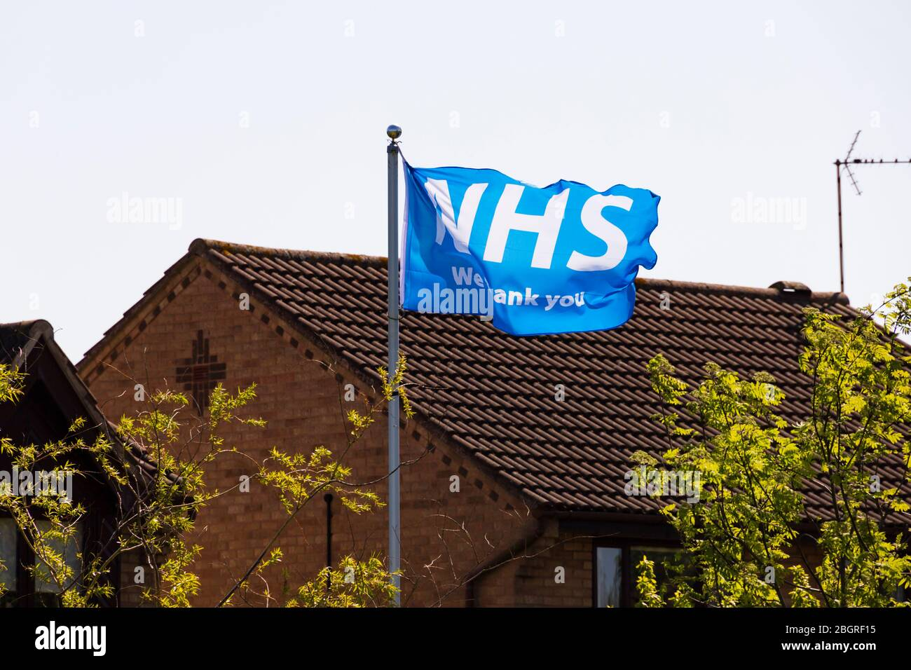 Thank you NHS flag flying at a private house during the Corona Virus, Covid-19. pandemic. Grantham, Lincolnshire, England. April 2020 Stock Photo