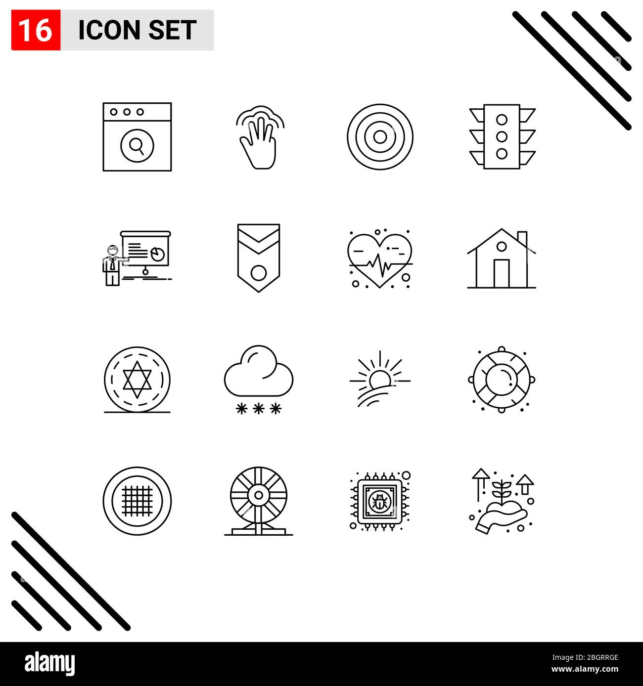 User Interface Pack of 16 Basic Outlines of graph, navigation, basic, signal, light Editable Vector Design Elements Stock Vector