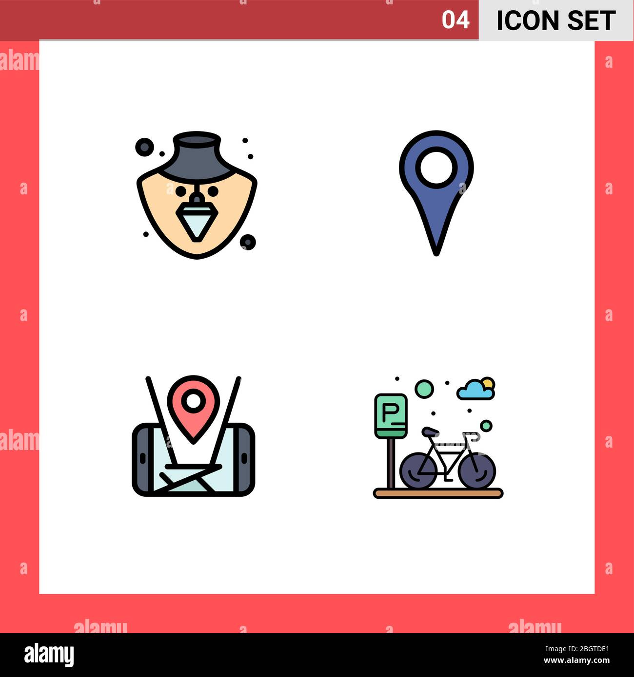 Universal Icon Symbols Group Of 4 Modern Filledline Flat Colors Of Nacklace Location Geo Location Pin Cycle Editable Vector Design Elements Stock Vector Image Art Alamy