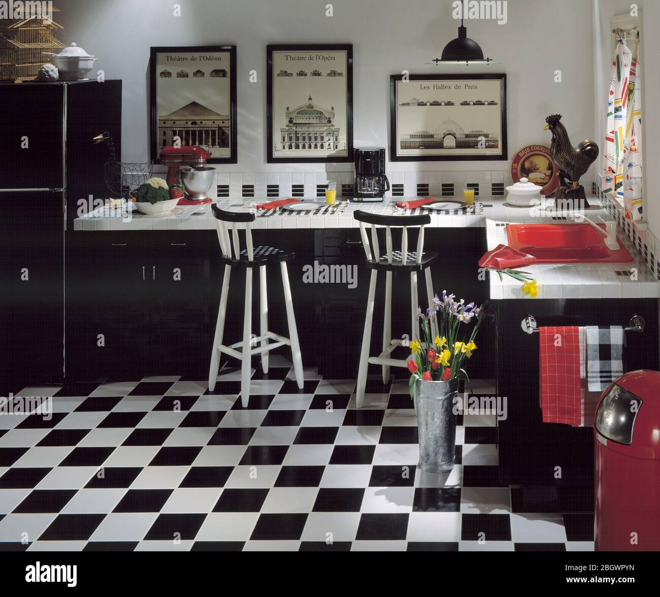 Retro Modern Style Kitchen Checkered Tile Floor Black And White Motif Stock Photo Alamy