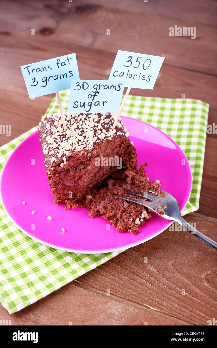 Chocolate Cake With Calories Count Labels And Fork On Color Plate And Napkin On Wooden Table Background Stock Photo Alamy
