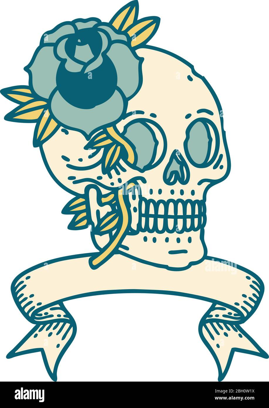 Traditional Tattoo With Banner Of A Skull And Rose Stock Vector Image Art Alamy