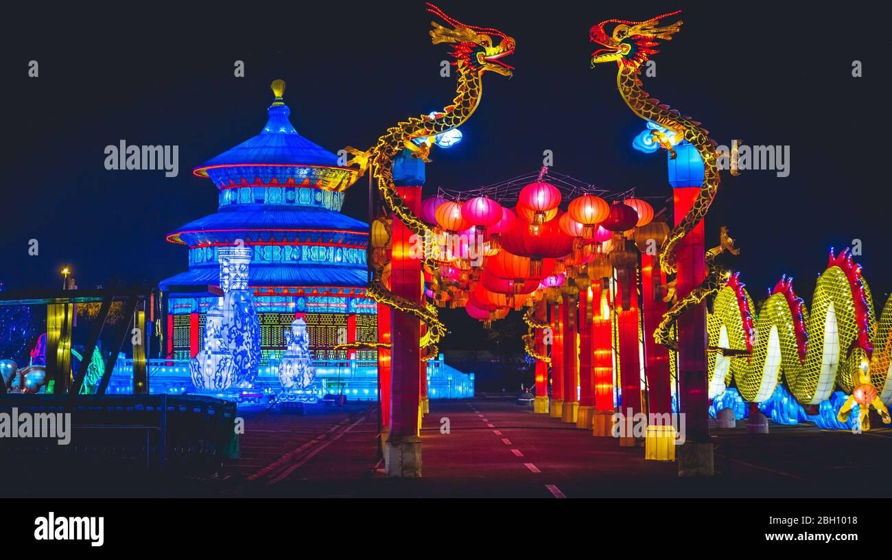 Chinese Horizontal background blue night dragon temple lantern Festival Stock Photo