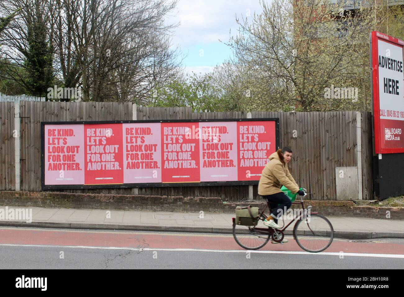 posters in haringey london england Uk say be kind lets look out for one another during corona pandemic 2020 april Stock Photo