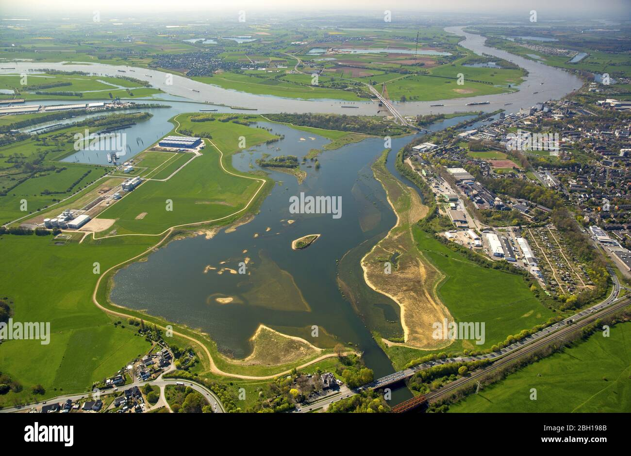 , flooded riverbed of Lippe at mouth into the river Rhien in Wesel. 21.04.2016, aerial view, Germany, North Rhine-Westphalia, Ruhr Area, Wesel Stock Photo