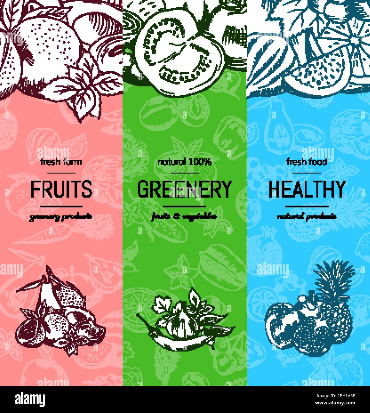 Vector Vegan Healthy Organic Banner Set With Doodle Sketched Fruits And Vegetables Organic Vegetarian Food Banner In Doodle Sketch Style Illustrati Stock Vector Image Art Alamy