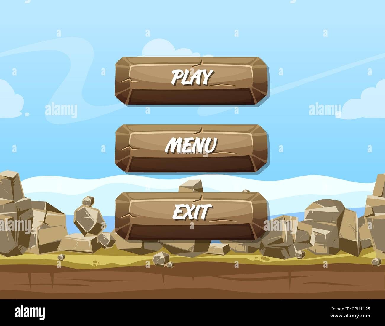 Vector Cartoon Style Stone Buttons With Text For Game Design On Rocks And Sky Background Template Menu Design For App Game Illustration Stock Vector Image Art Alamy