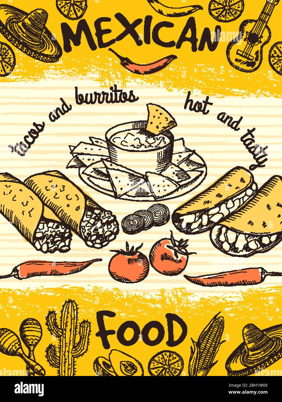 Design Template Of Poster With Mexican Food Vintage Banner Mexican Food Restaurant Banner Flyer Vector Illustration Stock Vector Image Art Alamy