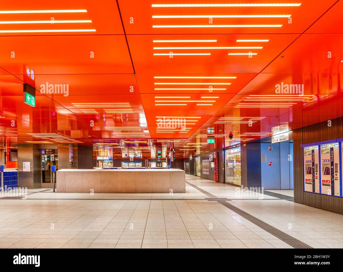 Empty basement during the day, access to subway, corona crisis, Marienplatz, Munich, Upper Bavaria, Bavaria, Germany, Europe Stock Photo