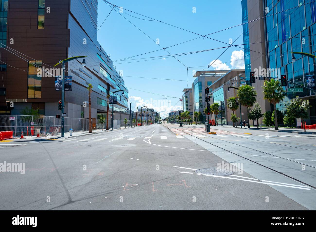 Streets were nearly empty during a shelter in place order in Mission Bay, San Francisco, California during an outbreak of the COVID-19 coronavirus, March 26, 2020. () Stock Photo