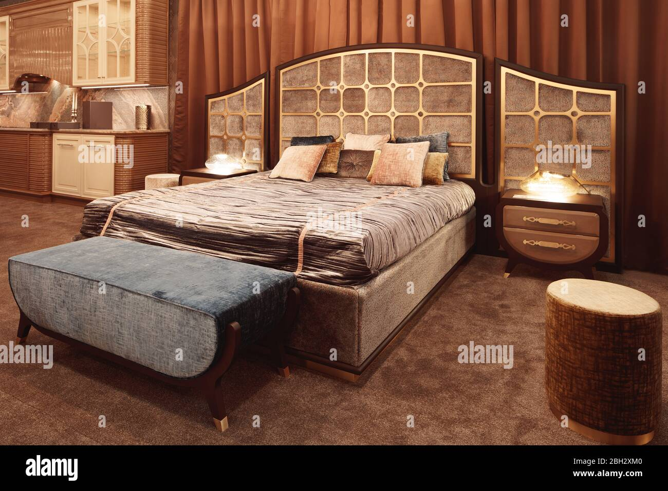 Picture of: Hotel Service Concept Luxurious Bedroom With Bed And Bedside Tables And A Mirror Concept Interior Home Comfort Hotel Stock Photo Alamy